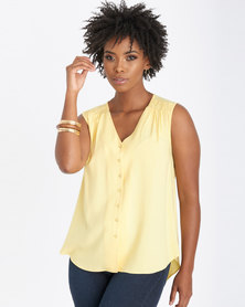 Contempo Top With Shoulder Detail Yellow