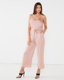 UB Creative Satin Cowl Neck Pants Suit Pink