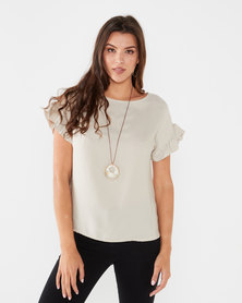 UB Creative Viscose Top with Frill Sleeve Stone