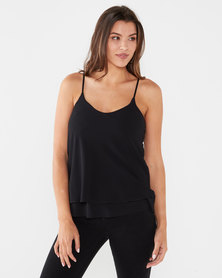 UB Creative Georgette Double Long Cami Black