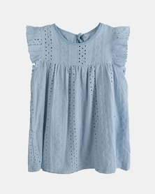 Oikie Toikie Flying Sleeve Lace Dress Blue