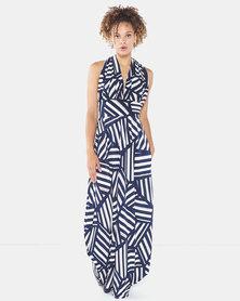 Blue Mango Maxi Halter Dress Geometric Print Blue