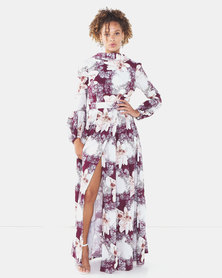 Blue Mango Floral  Blossom Maxi Dress with front parting and open back bodice