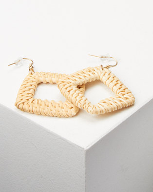 Lily & Rose Natural Woven Square Drop Earrings Neutral