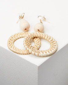 Lily & Rose Natural Woven Circle Drop Earrings Neutral