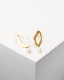 Lily & Rose Abstract Drop Earrings Gold