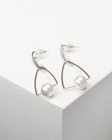 Lily & Rose Faux Pearl Drop Earrings Silver