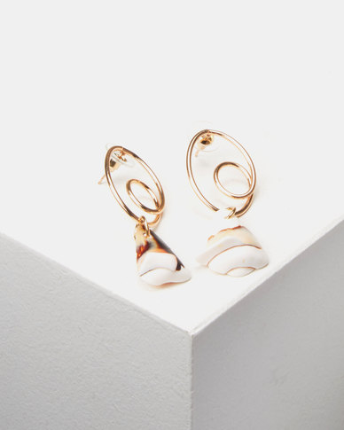 Lily & Rose Shell Drop Earrings Gold