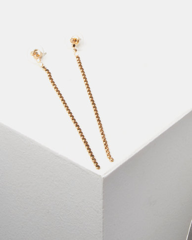 Lily & Rose  Chain Link Drop Earrings Gold