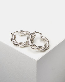 Lily & Rose Twisted Hoop Earrings Silver