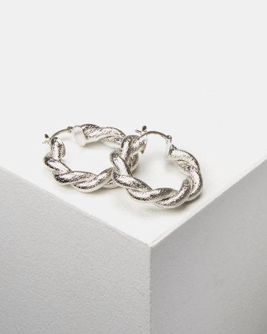 Lily & Rose Twisted Hoop Earrings Silver