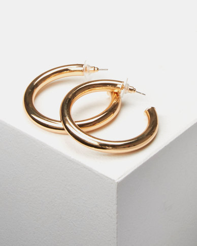 Lily & Rose Thick Open Hoop Earrings Gold