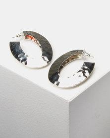 Lily & Rose Battered Hoop Earrings Silver