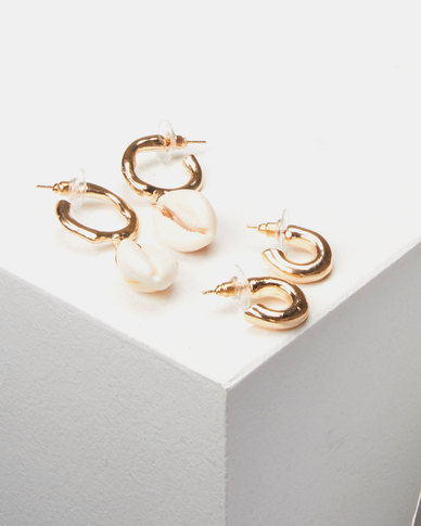 Lily & Rose 2 Pack Shell Hoop Earrings Gold