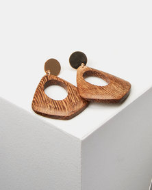 Lily & Rose Wood Drop Earrings Brown