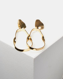 Lily & Rose Warped Drop Earrings Gold