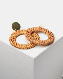 Lily & Rose Woven Circle Drop Earrings Brown