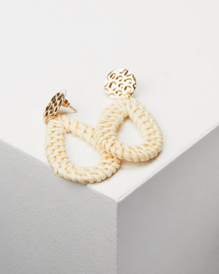Lily & Rose Natural  Woven Drop Earrings Neutrals