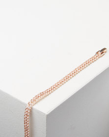 Adoria Diamante Encrusted Bracelet Rose Gold