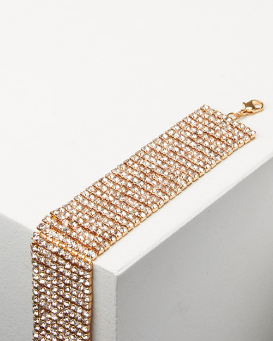 Adoria Wide Diamante Encrusted Bracelet  Gold