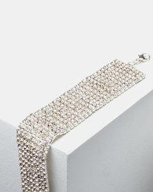 Adoria Extravagant Diamante Bracelet Silver
