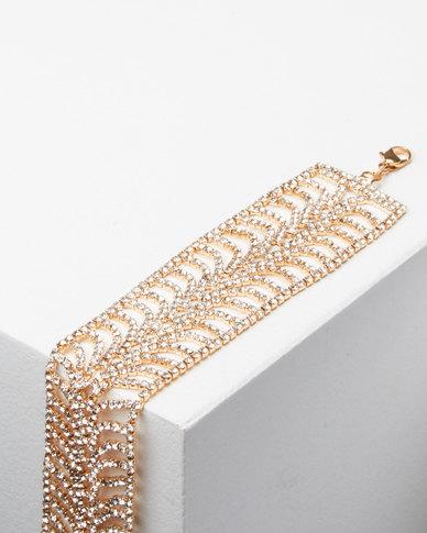 Adoria Extravagant Diamante Bracelet Gold
