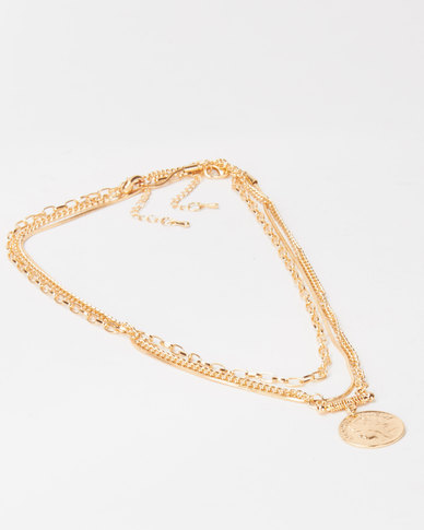 Lily & Rose Triple Layer Coin Necklace Gold