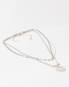 Lily & Rose Triple Layer Coin Necklace Silver
