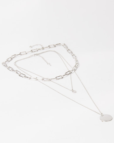 Lily & Rose Triple Layer Chain Link Necklace Silver
