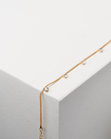 Lily & Rose Diamante Detail Anklet Gold