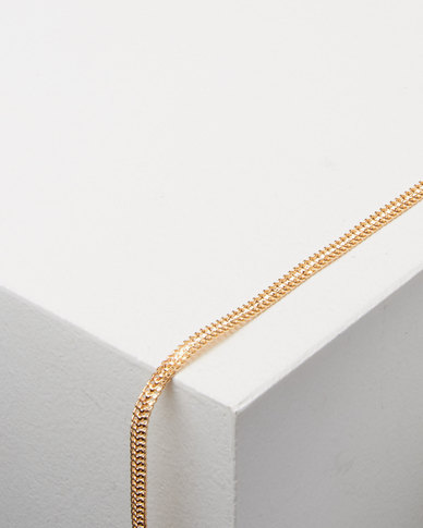 Lily & Rose Herringbone Anklet Gold