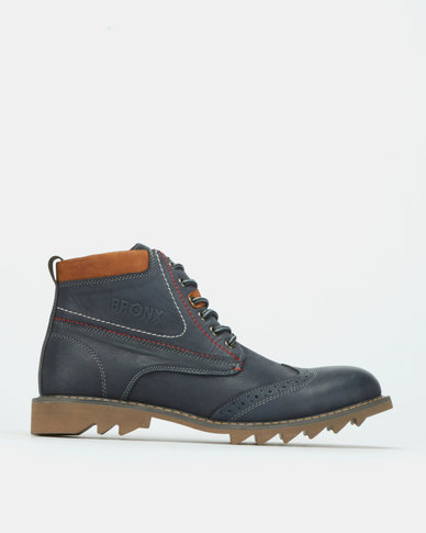 Bronx Men Glanworth Boots Navy/Tan