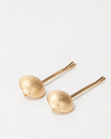 Lily & Rose 2 Pack Ball Hair Slides Gold