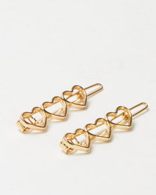 Lily & Rose 2 Pack Heart Hair Clips Gold