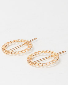 Lily & Rose 2 Pack Round Hair Clips Gold