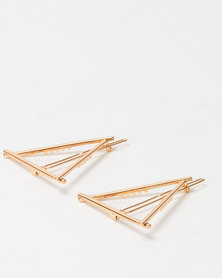 Lily & Rose 2 Pack Triangle Hair Clips Gold