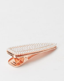 Lily & Rose Beaded Hair Clip Rose Gold