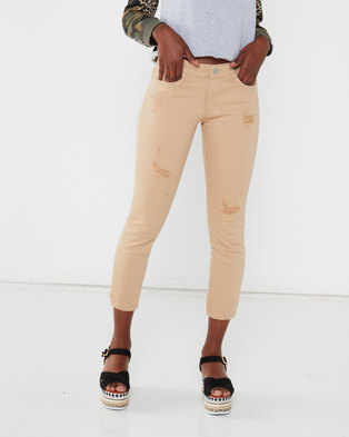 Utopia Strech Skinny Jeans With Rips Stone