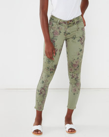 Utopia Floral Skinny Jeans Green
