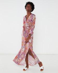 Utopia Boho Print Maxi Dress Pink