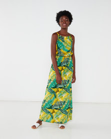 Utopia Tropical Print Maxi Dress Yellow