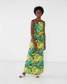 Utopia Tropical Print Maxi Dress Yellow