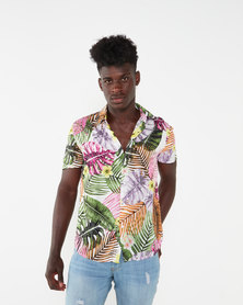 Utopia Tropical Print Viscose Shirt Multi