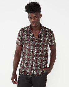 Utopia Ethnic Print Viscose Shirt Neutrals