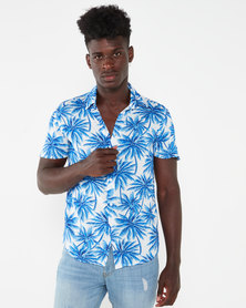Utopia Tropical Print Viscose Shirt Blue