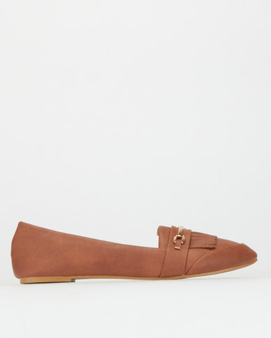 Legit S19 Loafers with Fringe & Bar Trim Tan