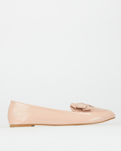 Legit S19  Contrast Fabric Loafers with Bow Blush