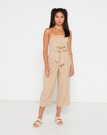 Legit Stripe Peep Linen Jumpsuit White/Beige
