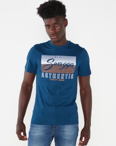 Beaver Canoe Swagga Short Sleeve Swagga Flocked T-Shirt Teal