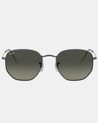 Ray-Ban Gunmetal Hexagonal Sunglasses Silver
